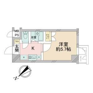 1K {building type} in Yokoteramachi - Shinjuku-ku Floorplan