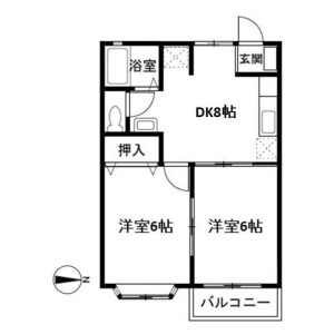 2DK Apartment in Ikedacho - Yokosuka-shi Floorplan