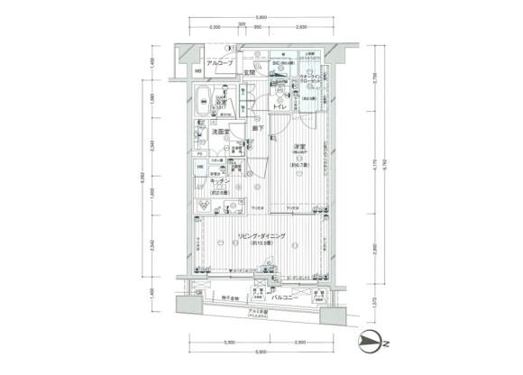 在新宿区内租赁1LDK 公寓大厦 的 楼层布局