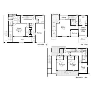 3LDK House in Azabudai - Minato-ku Floorplan
