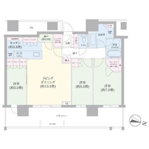 3LDK Apartment in Utase - Chiba-shi Mihama-ku Floorplan