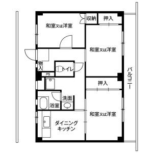 3DK Mansion in Shiromaru - Sendai-shi Taihaku-ku Floorplan
