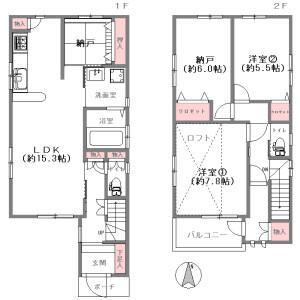 2LDK {building type} in Minamitanabe - Osaka-shi Higashisumiyoshi-ku Floorplan
