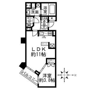 港区六本木-1LDK公寓 楼层布局