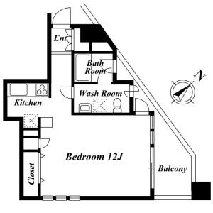 目黒区下目黒-1R公寓大厦 楼层布局