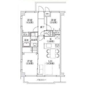 3LDK Apartment in Nakacho - Meguro-ku Floorplan