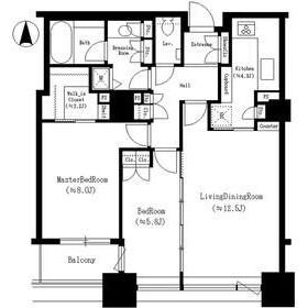 2LDK Mansion in Tsukuda - Chuo-ku Floorplan