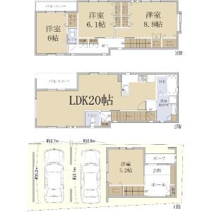 4LDK {building type} in Kusugaokacho - Kobe-shi Nada-ku Floorplan