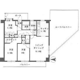 3LDK Mansion in Ogibashi - Koto-ku Floorplan