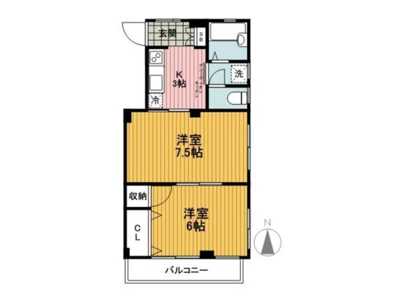 2K Apartment to Rent in Yokohama-shi Nishi-ku Floorplan