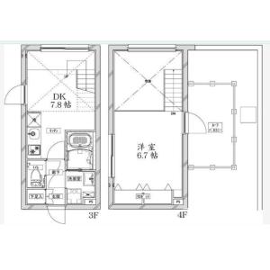 品川区東大井-1DK公寓大厦 楼层布局