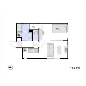 1LDK Apartment in Omorihigashi - Ota-ku Floorplan