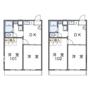 福岡市西区千里-2DK公寓 楼层布局