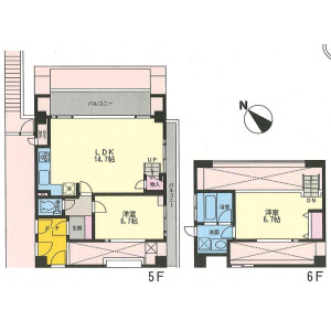 2LDK Apartment in Tamagawadai - Setagaya-ku Floorplan