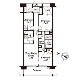 3LDK Mansion in Fukasawa - Setagaya-ku Floorplan