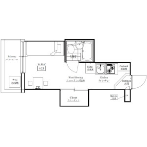 1K Mansion in Yoyogi - Shibuya-ku Floorplan