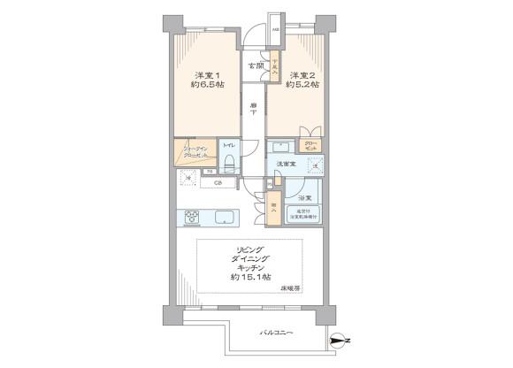 2LDK Apartment to Buy in Suginami-ku Floorplan