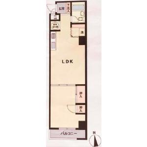 1LDK Apartment in Kotobashi - Sumida-ku Floorplan