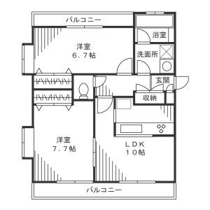 川崎市宮前區有馬-2LDK公寓 房間格局