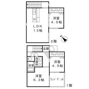 川崎市高津區向ケ丘-3LDK獨棟住宅 房間格局