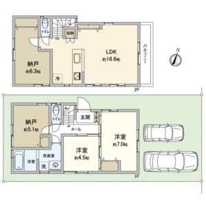 2LDK {building type} in Nakai - Shinjuku-ku Floorplan