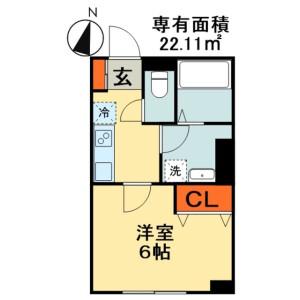 1K Apartment in Tsubakimori - Chiba-shi Chuo-ku Floorplan