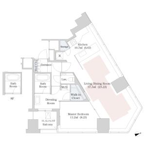新宿區西新宿-1LDK公寓大廈 房間格局