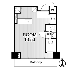 1R Mansion in Nishishinsaibashi - Osaka-shi Chuo-ku Floorplan