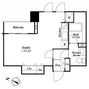 1R Mansion in Kamiosaki - Shinagawa-ku Floorplan