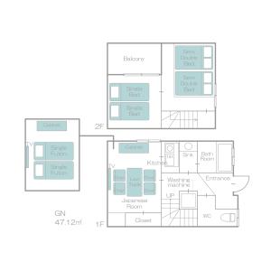 2LDK House in Nishikujo - Osaka-shi Konohana-ku Floorplan