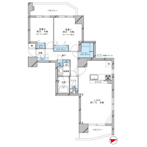 2LDK Apartment in Tomigaya - Shibuya-ku Floorplan