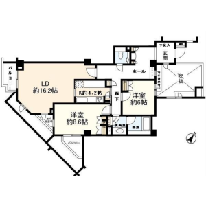 2LDK Mansion in Daizawa - Setagaya-ku Floorplan