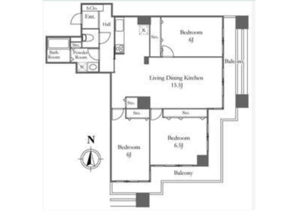 3LDK Apartment to Rent in Chuo-ku Floorplan