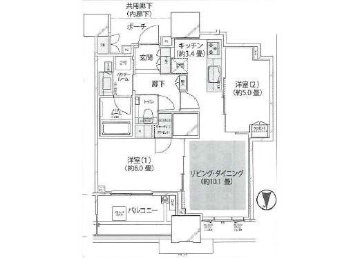 2LDK Apartment to Buy in Chuo-ku Floorplan
