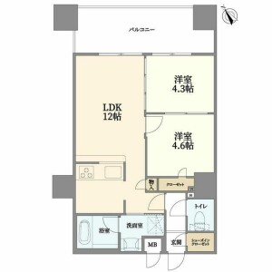 2LDK {building type} in Hatsunecho - Yokohama-shi Naka-ku Floorplan