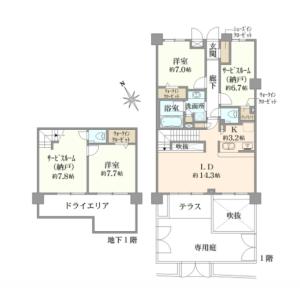 4LDK {building type} in Sakurajosui - Setagaya-ku Floorplan