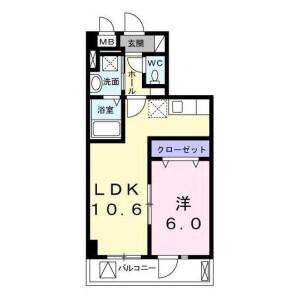 1LDK Apartment in Okura - Setagaya-ku Floorplan