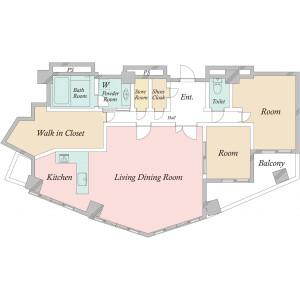 新宿区新宿-2SLDK{building type} 楼层布局