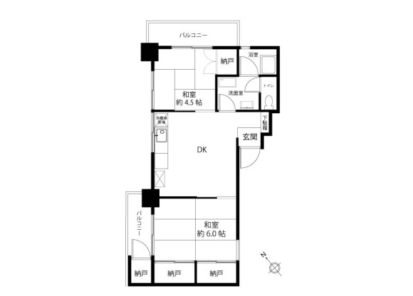 2LDK Apartment to Buy in Nakano-ku Floorplan