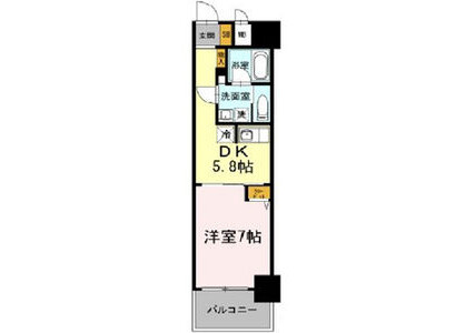 1DK Apartment to Rent in Osaka-shi Chuo-ku Floorplan