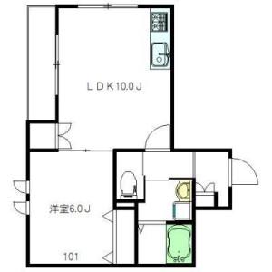 1LDK Apartment in Arai - Nakano-ku Floorplan