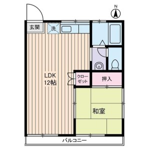 1LDK Apartment in Kasugacho - Nerima-ku Floorplan