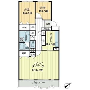 2LDK Mansion in Higiriyama - Yokohama-shi Konan-ku Floorplan