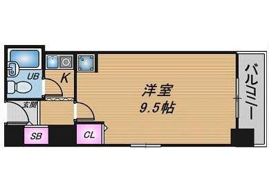 在大阪市北區內租賃1K 公寓大廈 的房產 房間格局