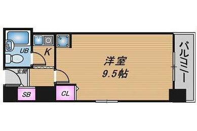 1K Apartment to Rent in Osaka-shi Kita-ku Floorplan