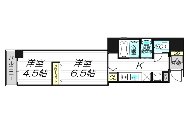1LDK Apartment to Rent in Osaka-shi Chuo-ku Floorplan