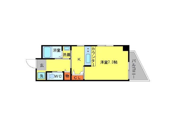 在茨木市内租赁1K 公寓大厦 的 楼层布局