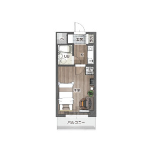 1K Mansion in Kishiya - Yokohama-shi Tsurumi-ku Floorplan
