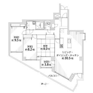京都市中京区 矢幡町 4LDK {building type} 間取り