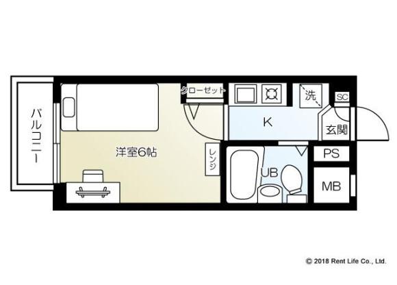 1K Apartment to Rent in Yokohama-shi Kanagawa-ku Floorplan